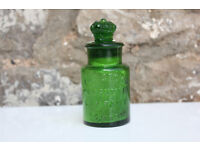 Unusual Victorian Green Glass Bottle The Crown Perfumery Company London Diamond Mark 19th Century