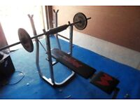 Weider free weight bench with bar and 10kg iron weights