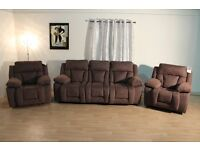 Ex-display Kennedy brown fabric manual recliner 3 seater sofa and 2 manual and rocker armchairs
