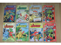 SILVERAGE COMICS 1960s / 8 X ADVENTURES OF THE JAGUAR COMICS . ISSUES 2 , 3 , 4 , 7(X2) , 8 , 10