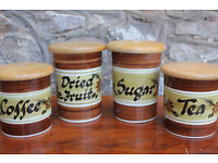 x4 Vintage Handpainted Kitchen Storage Containers- Toni Raymond Pottery Coffee Tea Sugar Dried Fruit