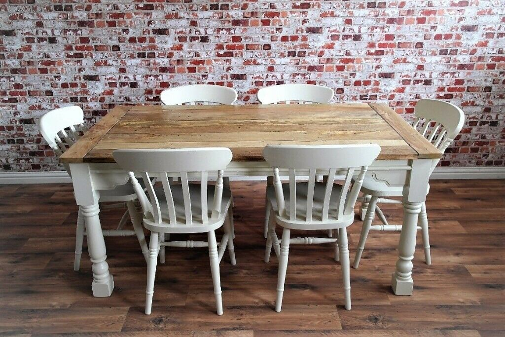 Rustic Farmhouse Extending Dining Table Set Painted Chairs Benches Up To Twelve Seater In Clifton Bristol Gumtree