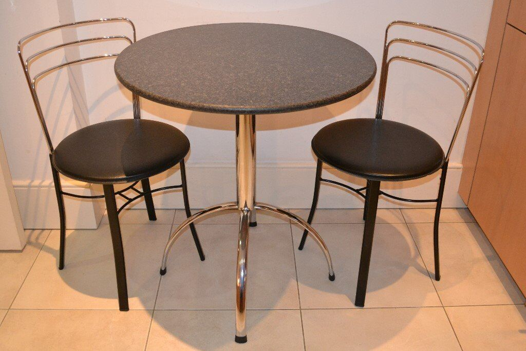 SMALL DINING TABLE With BLACK MARBLE TOP & 2 CHAIRS