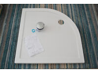 NEW. Low profile Stone Shower tray 900mm. + Chrome waste flow. Manual incl.