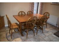 Country House Style Solid Wood Kitchen Dining Table and Six Chairs