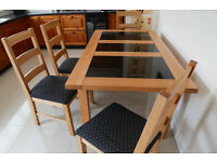 Light Oak extendable table and 4 chairs