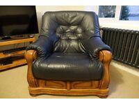 Chair Armchair: Vintage Blue leather