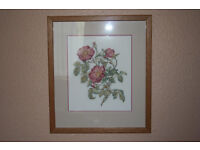 Flowers Cross-stitch Mounted & Framed.