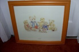 PICTURES WATERCOLOUR 5 TEDDYS SEWING LARGER PRINT OF 7 TEDDY BEARS
