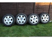 """16"""" VW ALLOY WHEELS WITH TYRES"""