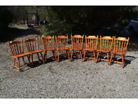 Set of eight traditional pine spindle back farmhouse style dining chairs