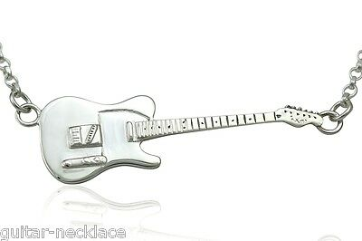 Mens Sterling Silver Rick Parfitt Fender Telecaster Electric Guitar Necklace 925