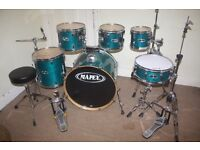 Mapex M Series Transparent Sapphire Lacquered 6 Piece Complete Drum Kit with Sabian Solar Cymbal Set