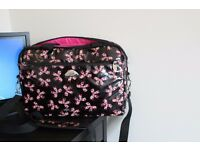 Ladies laptop bag - black with pink butterflies
