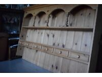 """Top Quality Vintage Solid Pine Welsh Dresser Top 2 Shelves & 6 Spice Drawers 70"""" x 41"""" x 7"""""""