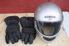 Light used motorcycle helmet and gloves