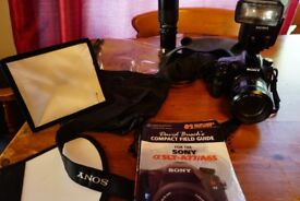 Sony A65V + Sony 16-105mm zoom +Minolta big beercan zoom +300mm Prime + Flashgun +extras