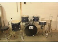 CB Blue SP Series Full 5 Piece Drum Kit (22in Bass) Tiger Cymbal Set - £195 ono