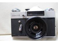 Zenit E SLR Fim Camera + lenses & leather case + strap