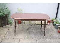 Formica Retro Table Dark Wood Home Dining Room