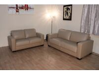 Ex-display Dante cream leather 2.5 seater sofa bed and 2 seater sofa