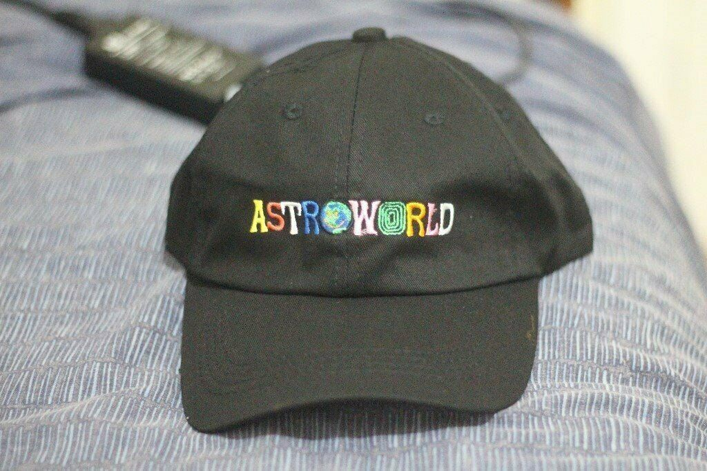 ad012a36747 New Travis Scott Travi   cott Astroworld Black Hat Tour Merch Cap Strapback  Dad I wish you was here