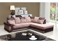 SAME DAY || NEXT DAY DELIVERY || Low Prices || Dino 3+2 Fabric Sofas in Brown/Beige or Black/Grey
