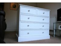 Five Drawer Solid Pine White Chest of Drawers