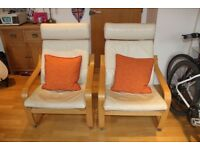 Two Ikea Poang Armchairs