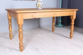 DELIVERY OPTIONS - 5 FT FARMHOUSE PINE TABLE WITH TURNED LEGS WAXED LIGHT COLOUR