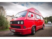 VW T25 / T3 Leisuredrive 4 Berth High Top c. 18,000 on engine, Tornado Red – Dual Fuel LPG + awning