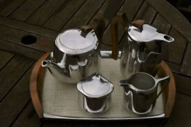 Piquot ware 5 piece tea service including the matching tray