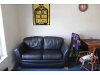 Black Leather 2 Seater Sofa (very comfy!)