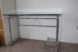 Glass / stainless steel desk for sale.