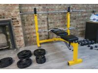 Bodymax CF520 Elite Folding Standard - Olympic Bench + 7ft 20 Kg Barbell + 4ft Curl Bar