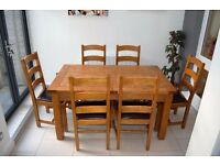 Extendable solid wood table, 6 chairs and matching sideboard