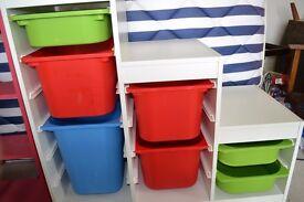 Ikea Trofast Kids Storage Unit x 2 plus Boxes - White - red, green, blue boxes