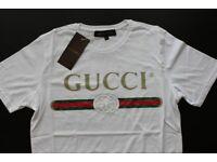 Brand New Gucci Men's 100% Cotton White Logo Tshirt