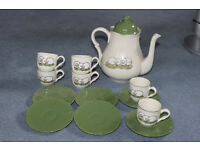 Coffee Set: Shepherd & Sheep design - Pot with 6 matching Cups and Saucers