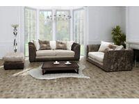 ( Dylan Crush Velvet ) BRAND NEW 3+2 Sofa Set - Black/Silver - Beigh/Brown - Black - Silver -