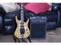 hohner electric guitar lacker design/stad/amp can be seen working