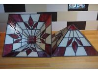 2 stained glass uplighters