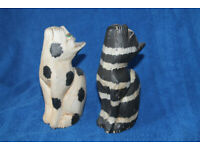 Two Painted Wooden Cat Ornaments