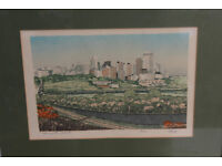Vintage Framed Silk Print Edmonton, Alberta, Canada. Limited Edition By George Weber Art Picture