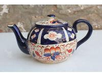 Antique Vintage Imari Teapot Wadeheath Pottery Handpainted Vintage Gaudy Wade Tea Pot