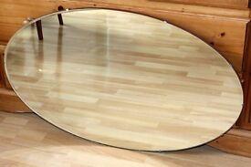 "Vintage Frameless XL Oval Mirror size approx.: 23"" x 36"""