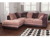 Superb Brand New brown and beige cord corner sofa. delivery