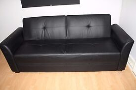 Furniture Village Dante furniture village dante black leather 3-seater sofa | in