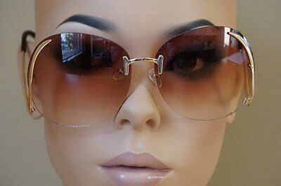 2e7ed6636f9 OVERSIZE VINTAGE RETRO Style SUNGLASSES Upside Down Gold Frame Brown Lens