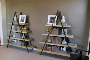 Ladder shelf bookcase Large heavy wrought iron 4 Tier shelving y